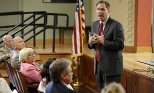 Oklahoma City schools Superintendent Karl Springer speaks to a crowd at Cleveland Elementary School in this Aug. 15, 2012, file photo.  PHOTO BY BRYAN TERRY, THE OKLAHOMAN ARCHIVEs