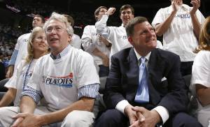 Aubrey McClendon and Thunder Chairman Clay Bennett at aThunder game in Oklahoma City in 2010. [Photo by Sarah Phipps, The Oklahoman]