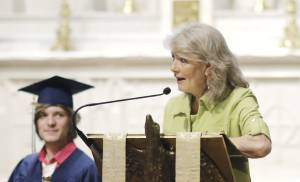 TRS Executive Director, Janet Oden, addresses the crowd during the Teen Recovery Solutions (TRS) at Mission Academy high school graduation ceremony at St. Paul's Episcopal Cathedral, 127 NW 7th, in Oklahoma City, Thursday, May 26, 2016. Photo by Doug Hoke, The Oklahoman