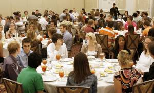 Interns talk with employers during a 2007 luncheon for the Greater Oklahoma City Chamber's Greater Grads program. The Chamber launched the program a year earlier. PHOTO BY PAUL B. SOUTHERLAND, THE OKLAHOMAN ARCHIVEs