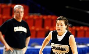 Colorado's Kelly Jo Mullaney dribbles down the court during practice at the Cox Convention Center on Wedesday. Photo by Steve Sisney, The Oklahoman