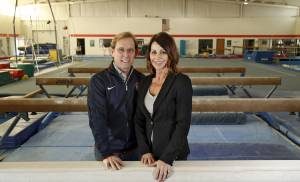 Bart Conner and Nadia Comaneci at the Bart Conner Gymnastics Academy in Norman, Monday February, 02 2015. Photo By Steve Gooch, The Oklahoman