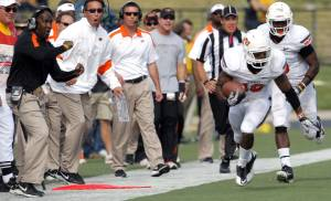 Oklahoma State coaches react to Oklahoma State's Brodrick Brown (19)interception during a college football game between the Oklahoma State University Cowboys (OSU) and the University of Missouri Tigers (Mizzou) at Faurot Field in Columbia, Mo., Saturday, Oct. 22, 2011. Photo by Sarah Phipps, The Oklahoman