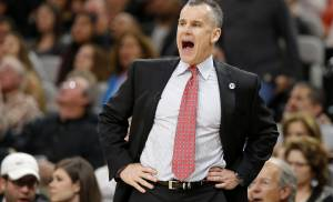 Oklahoma City coach Billy Donovan shouts during Game 2 of the second-round series between the Oklahoma City Thunder and the San Antonio Spurs in the NBA playoffs at the AT&T Center in San Antonio, Monday, May 2, 2016. Oklahoma City won 98-97. Photo by Bryan Terry, The Oklahoman