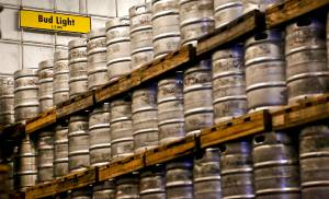 Kegs of Bud Light beer are stackedin the 100,000-square-foot facility at the Anheuser-Busch Sales of Oklahoma distributor in Oklahoma City. [Photo by Chris Landsberger, The Oklahoman]