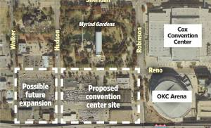 The proposed site of the future convention center is shown south of Myraid Gardens. Design isn't set to begin until 2014. OKLAHOMAN GRAPHICS DEPARTMENT