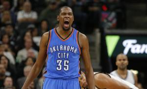Oklahoma City's Kevin Durant must cut down on turnovers for the Thunder to have success against San Antonio. (Photo by Bryan Terry, The Oklahoman)