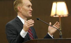 Senator James Lankford speaks to 83 candidates from 28 countries who took the Oath of Allegiance during a naturalization ceremony at the Federal Courthouse in Oklahoma City, Friday May, 29 2015. Photo By Steve Gooch, The Oklahoman