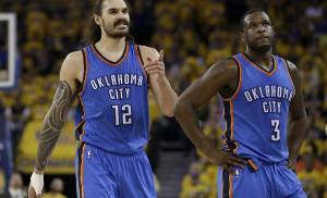 Oklahoma City Thunder center Steven Adams (12) and guard Dion Waiters (3) react after a call during the first half of Game 7 of the NBA basketball Western Conference finals against the Golden State Warriors in Oakland, Calif., Monday, May 30, 2016. (AP Photo/Marcio Jose Sanchez)