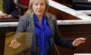 Gov. Mary Fallin speaks Monday to lawmakers during the Oklahoma Legislature's 2016 State of the State address in the chamber of the House of Representatives at the Oklahoma Capitol in Oklahoma City. [Photo by Jim Beckel, The Oklahoman]