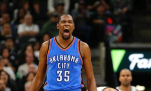 Oklahoma City's Kevin Durant celwbrates after a basket and a foul during Game 2 of the second-round series between the Oklahoma City Thunder and the San Antonio Spurs in the NBA playoffs at the AT&T Center in San Antonio, Monday, May 2, 2016. Photo by Bryan Terry, The Oklahoman