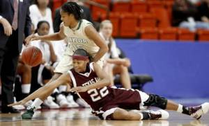 Baylor's Jhasmin Player and Texas A&M's Tanisha Smith go for the ball during the championship game of the Big 12 Women's Basketball Championship between  Baylor and Texas A&M at the Cox center in Oklahoma City, Sunday, March 15, 2009. PHOTO BY BRYAN TERRY, THE OKLAHOMAN