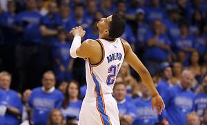 Oklahoma City's Andre Roberson (21) reacts after a play during Game 6 of the Western Conference finals in the NBA playoffs between the Oklahoma City Thunder and the Golden State Warriors at Chesapeake Energy Arena in Oklahoma City, Saturday, May 28, 2016. Photo by Sarah Phipps, The Oklahoman