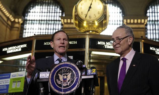 "U.S. Sen. Richard Blumenthal, D-CT, left, and U.S. Sen. Charles Schumer, D-NY, comment during a news conference on a report by the Federal Railroad Administration about the Metro-North Railroad, at the information booth in New York's Grand Central Terminal, Friday, March 14, 2014. Metro-North commuter railroad has allowed an overemphasis on train times to ""routinely"" overshadow its safety operations, according to an FRA review that was released Friday. (AP Photo/Richard Drew)"