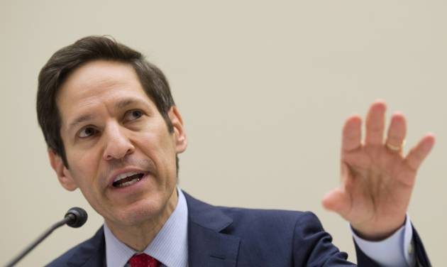 """Centers for Disease Control and Prevention (CDC) Director Dr. Tom Frieden testifies on Capitol Hill in Washington Thursday, Aug. 7, 2014, before the House subcommittee on Africa, Global Health, Global Human Rights, and International Organizations hearing on """"Combating the Ebola Threat."""" (AP Photo/Molly Riley)"""