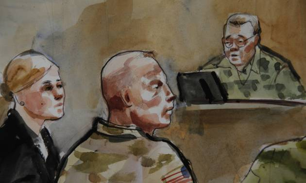 File-In this detail of a courtroom sketch, U.S. Army Staff Sgt. Robert Bales, center, is shown Monday, Nov. 5, 2012, during a preliminary hearing in a military courtroom at Joint Base Lewis McChord in Washington state. An Afghan National Army guard who reported seeing a U.S. soldier outside a remote base the night 16 civilians were massacred in March said the man did not stop even after being asked three times to do so. The guard, named Nematullah, testified by live video from Kandahar, Afghanistan, on Friday Nov. 9, 201 during an overnight session for a hearing in the case against Staff Sgt. Robert Bales. At right is Investigating Officer Col. Lee Deneke, and at left is Bales' attorney, Emma Scanlan. (AP Photo/Lois Silver) TV OUT