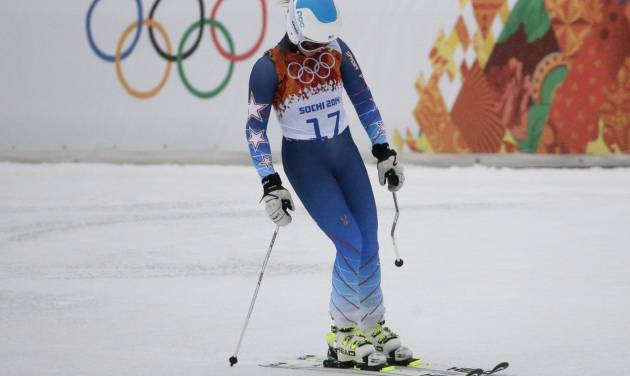United States' Julia Mancuso reacts after skiing out of the first run of the women's giant slalom at the Sochi 2014 Winter Olympics, Tuesday, Feb. 18, 2014, in Krasnaya Polyana, Russia. (AP Photo/Gero Breloer)