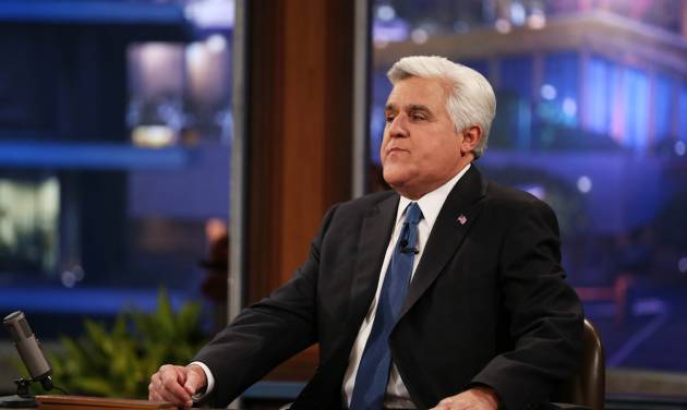 """Jay Leno appears during the final taping of  NBC's """"The Tonight Show with Jay Leno,"""" in Burbank, Calif., Thursday, Feb. 6, 2014. Leno brings his 22-year career as the show host to an end Thursday in a special one-hour farewell broadcast. (Photo by Matt Sayles/Invision/AP)"""