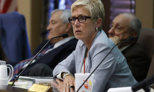 Janet Barresi, state schools superintendent, speaks Wednesday during an Oklahoma state Board of Education meeting in Oklahoma City. The board voted 5-1 to again delay adopting a formal plan to replace Common Core standards. AP photo    -  AP