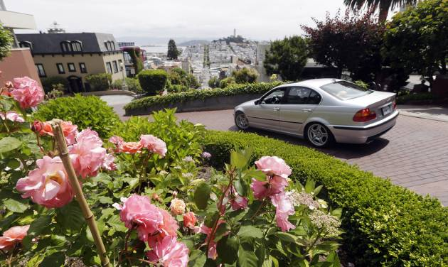 Flowers bloom on Lombard Street on Tuesday, May 20, 2014, in San Francisco.  San Francisco's crooked street could soon be closed to tourists in the summertime. A transportation commission is scheduled to consider an experimental shutdown of the famously curvaceous block of Lombard Street plus an adjoining block where cars line up and wait.(AP Photo/Marcio Jose Sanchez)
