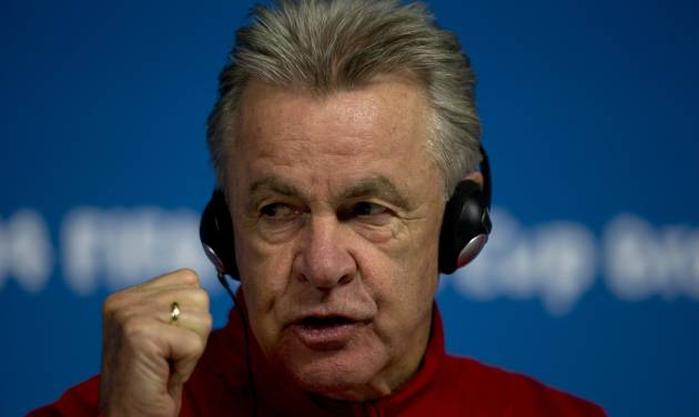 Switzerland's coach Ottmar Hitzfeld gestures during a news conference at Itaquerao Stadium in Sao Paulo, Brazil, Monday, June 30, 2014.  On Tuesday, Switzerland will face Argentina in their next World Cup soccer match. (AP Photo/Dario Lopez-Mills)