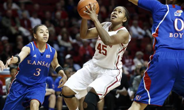 Oklahoma Sooner's Jasmine Hartman (45) drives guarded by Kansas Jayhawks' Angel Goodrich (3) and Asia Boyd (0) as the University of Oklahoma Sooners (OU) play the Kansas Jayhawks in NCAA, women's college basketball at The Lloyd Noble Center on Saturday, March 2, 2013  in Norman, Okla. Photo by Steve Sisney, The Oklahoman