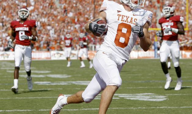 Jordan  Shipley of Texas scores a touchdown on a kick return during the first half of the college football game between the University of Oklahoma Sooners (OU) and University of Texas Longhorns (UT) in the Red River Rivalry on Saturday, Oct. 11, 2008, at the Cotton Bowl, in Dallas, Texas. By Bryan Terry