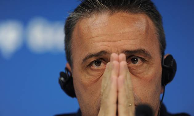 Portugal's head coach Paulo Bento attends a press conference prior to a training session at Arena da Amazonia in Manaus, Brazil, Saturday, June 21, 2014. Portugal will play against the United States in group G of the 2014 soccer World Cup on June 22. (AP Photo/Paulo Duarte)