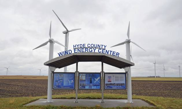 The South Dakota Wind Energy Center is seen Tuesday, April 29, 2014, near Highmore, S.D., where a single-engine Piper crashed in foggy weather Sunday evening after it apparently hit the blade of the one of the wind turbines. The pilot and three cattlemen returning from a sale of live cattle and embryos were killed in the crash. (AP Photo/Capital Journal, Joel Ebert)