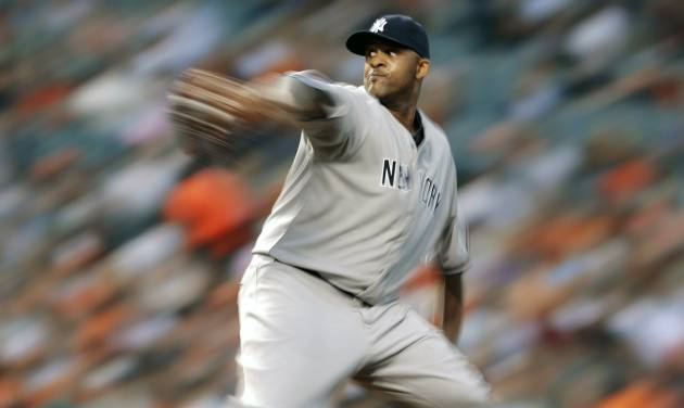 In this photo made with a slow shutter speed, New York Yankees starting pitcher CC Sabathia throws to the Baltimore Orioles in the fourth inning of a baseball game in Baltimore, Monday, May 20, 2013. (AP Photo/Patrick Semansky)