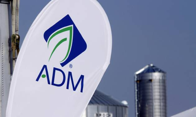 FILE - This Aug. 31, 2011 file photo shows the Archer Daniels Midland Company logo at the ADM booth during the Farm Progress Show, in Decatur, Ill. ADM on Monday, July 7, 2014 said it will pay about $3 billion to buy the privately held Swiss company Wild Flavors, which supplies natural ingredients to the food and beverage industry. (AP Photo/Seth Perlman, File)
