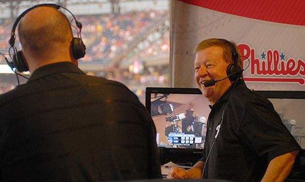 In this undated photo, Tom McCarthy, left, and Chris Wheeler talk in the broadcast booth at Citizens Bank Park in Philadelphia. Longtime Philadelphia Phillies broadcaster Chris Wheeler is out after nearly four decades in the booth and Gary Matthews isn't returning as color analyst. The team recently signed a new television contract with NBCUniversal and Comcast SportsNet that's reportedly worth $2.5 billion over 25 years. The decision to replace Wheeler and Matthews came from the network, multiple sources told The Associated Press on Wednesday, Jan. 8, 2014,  on condition of anonymity because it hadn't commented on the matter. (AP Photo/Philadelphia Daily News, Jarid Barringer)  THE EVENING BULLETIN OUT, TV OUT, MAGS OUT, NO SALES -