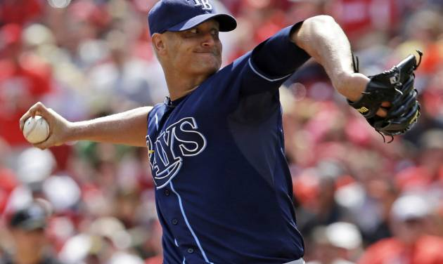 Tampa Bay Rays starting pitcher Alex Cobb throws against the Cincinnati Reds in the sixth inning of a baseball game, Saturday, April 12, 2014, in Cincinnati. Cobb pitched seven shutout innings to earn the 1-0 win. (AP Photo/Al Behrman)