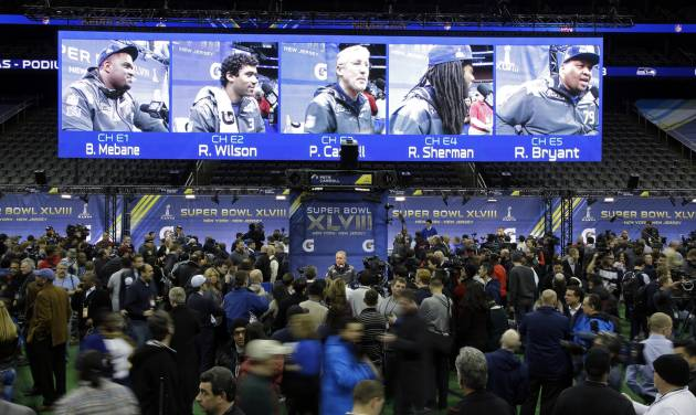 Seattle Seahawks head coach Pete Carroll speaks during media day for the NFL Super Bowl XLVIII football game Tuesday, Jan. 28, 2014, in Newark, N.J. (AP Photo/Matt Slocum)