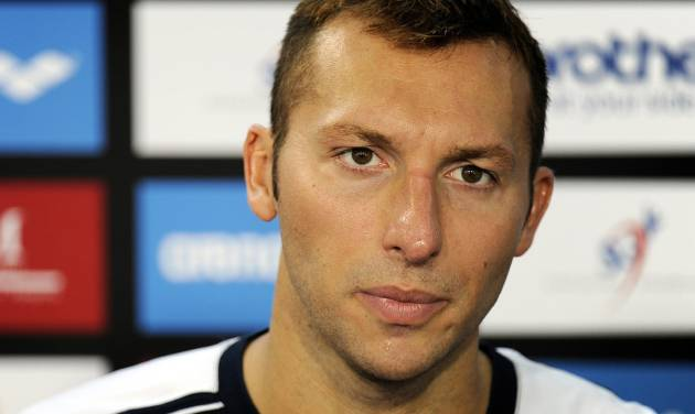 FILE - In this Nov. 5, 2011 file photo, Ian Thorpe, of Australia, speaks during a news conference after failing to qualify for the men's 100-meter butterfly event of the Swimming World Cup in Singapore. The manager of Olympic swimming great Ian Thorpe says the five-time gold medalist is in rehab after being found disoriented on a Sydney street early Monday Feb. 3, 2014 by police responding to a call from residents. James Erskine told the Australian Associated Press that Thorpe was affected by a combination of antidepressants and the painkillers he was taking for a shoulder injury. (AP Photo/Bryan van der Beek, File)