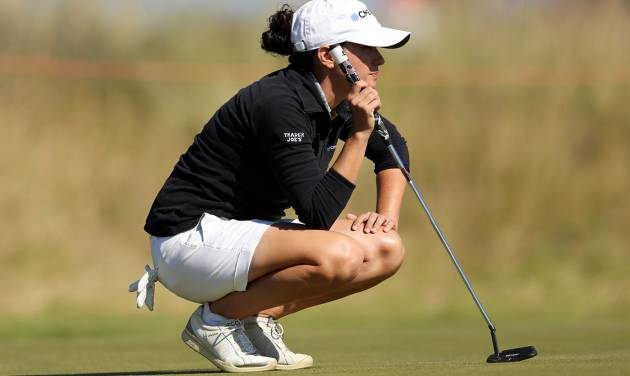 Mo Martin of the US lines up a shot on the 9th green during the second day of the Women's British Open golf championship on the Royal Birkdale Golf Club, Southport, England, Friday July 11, 2014. (AP Photo/Scott Heppell)