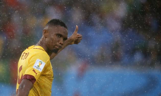 Cameroon's Samuel Eto'o gestures during the group A World Cup soccer match between Mexico and Cameroon in the Arena das Dunas in Natal, Brazil, Friday, June 13, 2014.  (AP Photo/Sergei Grits)