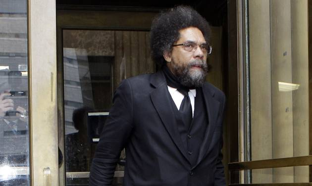 Cornel West leaves criminal court Thursday, May 3, 2012, in New York. Seizing an opportunity to spotlight their message, 20 critics of police stop-and-frisks began telling a judge Wednesday that they shouldn't have been arrested during a demonstration last fall. (AP Photo/Frank Franklin II)