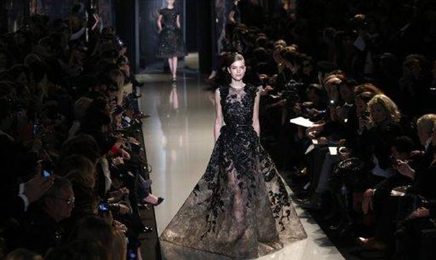 A model wears a creation by Lebanese fashion designer Elie Saab for his Spring Summer 2013 Haute Couture fashion collection, presented in Paris, Wednesday, Jan.23, 2013. (AP Photo/Christophe Ena)