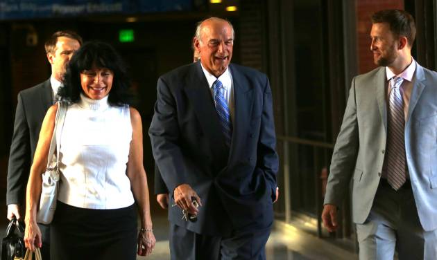 "FILE - In this July 22, 2014 file photo former Minnesota Gov. Jesse Ventura, center, arrives at court with his wife, Terry, and others for his defamation lawsuit against ""American Sniper"" author Chris Kyle in St. Paul, Minn. Kyle wrote in his best-seller that he decked Ventura in a California bar in 2006 after Ventura allegedly said Navy SEALs ""deserve to lose a few."" Ventura, a former SEAL and pro wrestler, testified Kyle fabricated the story. Kyle denied that in testimony videotaped before his death last year. (AP Photo/The Star Tribune, Jim Gehrz, File) MANDATORY CREDIT; ST. PAUL PIONEER PRESS OUT; MAGS OUT; TWIN CITIES LOCAL TELEVISION OUT"