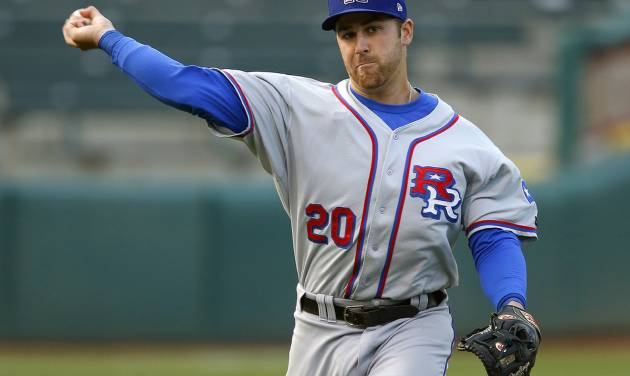 MINOR LEAGUE BASEBALL: Mike Olt of the Round Rock Express throws back to first in the first inning of a baseball game against the Oklahoma City RedHawks at Chickasaw Bricktown Ballpark in Oklahoma City, Tuesday, April 16, 2013. Photo by Bryan Terry, The Oklahoman