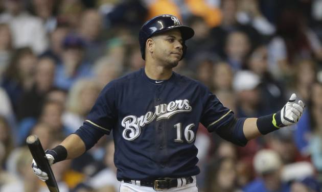 Milwaukee Brewers' Aramis Ramirez reacts to a called strike during the sixth inning of a baseball game against the Chicago Cubs, Sunday, April 27, 2014, in Milwaukee. (AP Photo/Jeffrey Phelps)