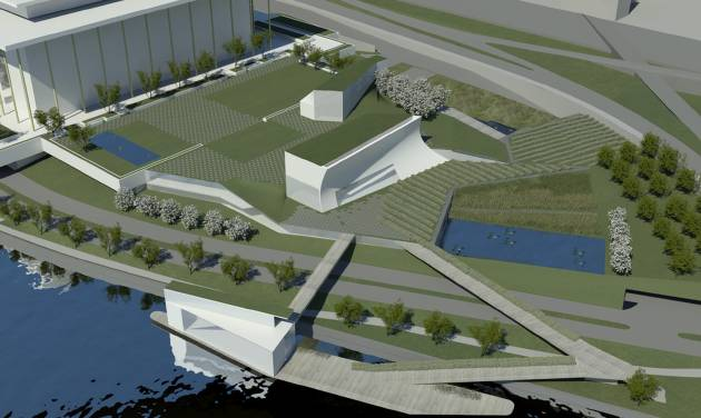 This handout artist rendition provided by The Kennedy Center and courtesy of Steven Holl Architects, shows architect Steven Holl's design concepts for the first major expansion of the Kennedy Center that will include rehearsal halls and classrooms, a memorial garden, and a stage floating on the Potomac River's edge for outdoor performances. (AP Photo/Kennedy Center, Steven Holl Architects)