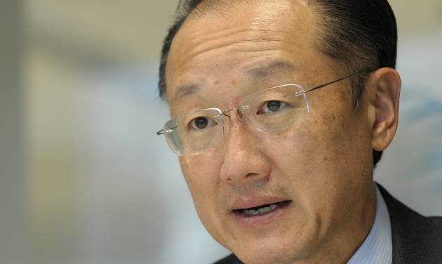 World Bank President Jim Kim speaks during an interview with The Associated Press at the World Bank in Washington, Tuesday, Sept. 3, 2013. He says his staff is doing a rush assessment of the impact of the Syrian conflict on Lebanon to prepare the ground for a new wave of international aid. (AP Photo/Susan Walsh)