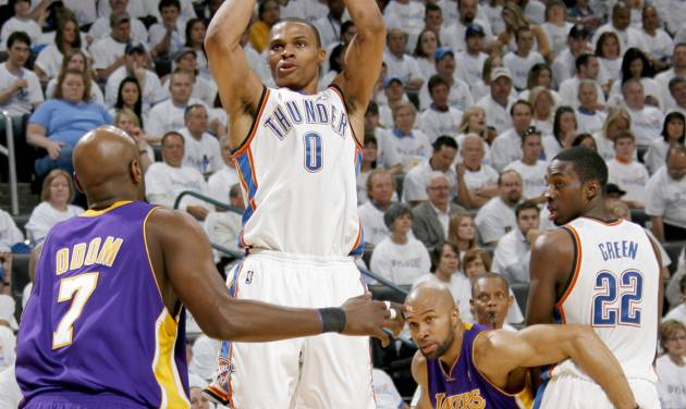 Oklahoma City guard Russell Westbrook, center, proved to be an offensive force in the Thunder's playoff series against the Los Angeles Lakers. PHOTO BY NATE BILLINGS, THE OKLAHOMAN