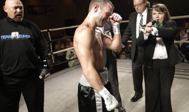 Oklahoma City's Noah Zuhdi reacts after winning the title of WBU World Lightweight Champion at the Cox Convention Center in Oklahoma City, Thursday, Sept. 20, 2012.  Photo by Garett Fisbeck, The Oklahoman