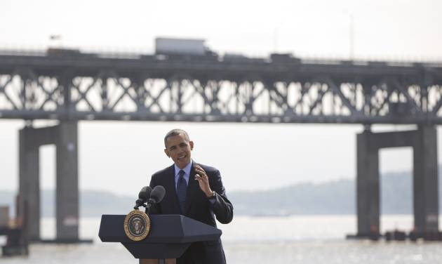 President Barack Obama speaks in Tarrytown, N.Y., near the Tappan Zee Bridge,  seen in the background, Wednesday, May 14, 2014, about the need for a 21st Century Transportation Infrastructure. (AP Photo)