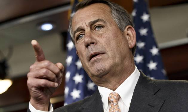 """Speaker of the House John Boehner is asked about the special select committee he has formed to investigate the deadly 2012 attack on the U.S. diplomatic post in Benghazi, Libya, raising the stakes in a political battle with the Obama administration as the midterm election season heats up, during a news conference on Capitol Hill in Washington, Thursday, May 8, 2014. The National Republican Congressional Committee has issued a fundraising pitch on its website asking people to become a """"Benghazi Watchdog"""" by donating money to GOP election efforts. Boehner has said that the examination would be """"all about getting to the truth"""" of the Obama administration's response to the attack and would not be a partisan, election-year circus. (AP Photo/J. Scott Applewhite)"""