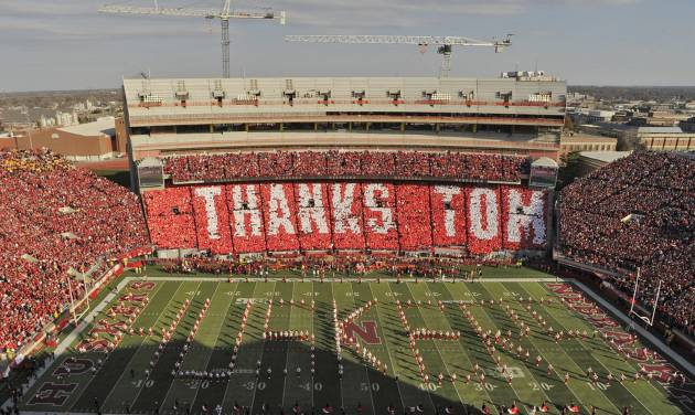 "FILE - In this Nov. 17, 2012 file photo, the east side of Memorial Stadium spells out ""THANKS TOM"" for retiring athletic director Tom Osborne during an NCAA college football game in Lincoln, Neb.  Osborne will retire as Nebraska's athletic director on Jan. 1, 2013, and end an association with the university that began in 1962. (AP Photo/Lincoln Journal Star, Adam Wolffbrandt, File)  LOCAL TV OUT, KOLN, KGIN, KLKN"