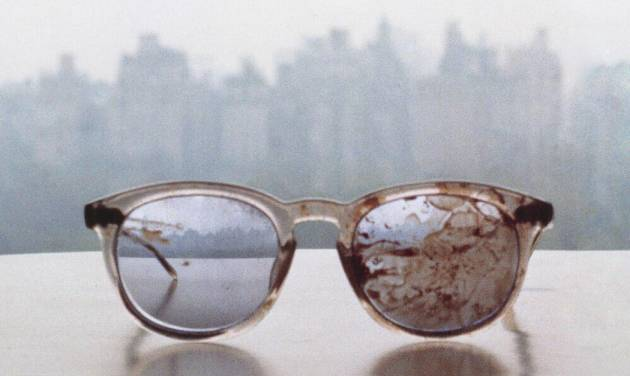 Image of the glasses worn by John Lennon on the day he was shot and killed in 1980. Photo via NPR